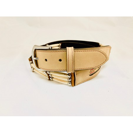 Belt - Cowhide Beige Southwest Bones Unisex - Texas Leather