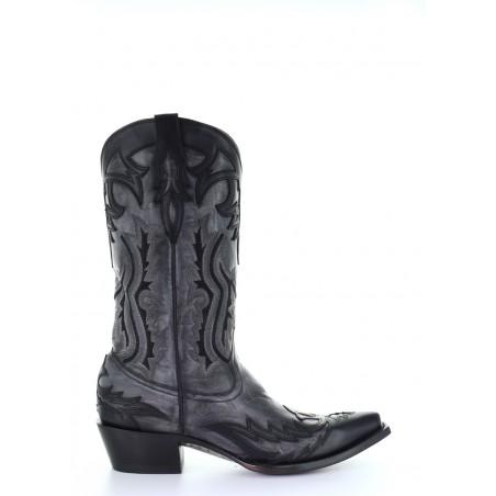Cowboy Boots - Cowhide Black Vintage Snip Toe Men - Corral Boots