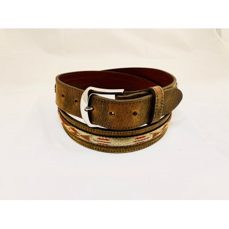 Belt - Cowhide Brown Southwest Unisex - Texas Leather