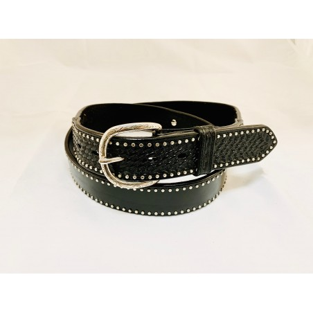 Belt - Cowhide Conchos Studded Unisex - Texas Leather