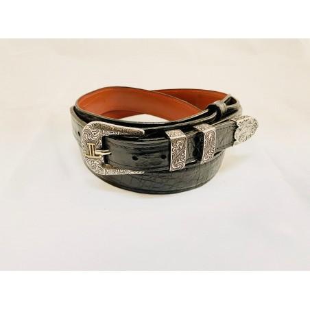 Ranger Belt - Genuine Caiman Leather Black Unisex - Lucchese