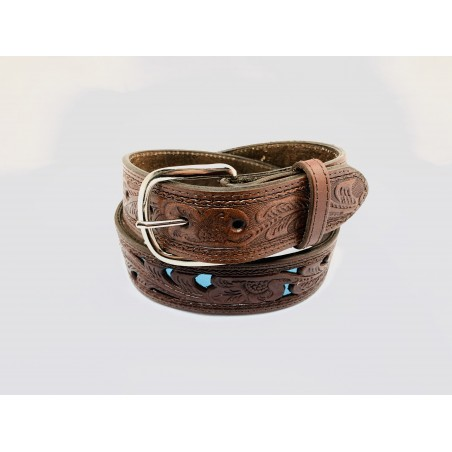 Belt - Cowhide Brown Turquoise Shiny Unisex - Texas Leather