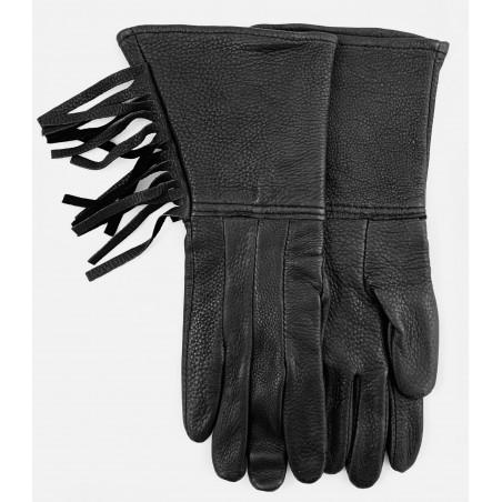 Long Fringed Gloves - Black Deerskin Leather Unisex - Watson Gloves