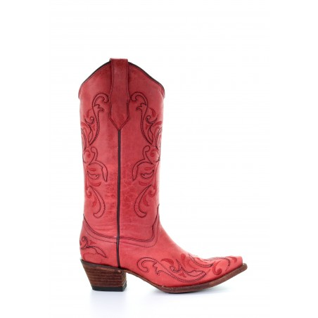 Cowgirl Boots - Cowhide Red Embroidery Snip Toe Women - Corral Boots