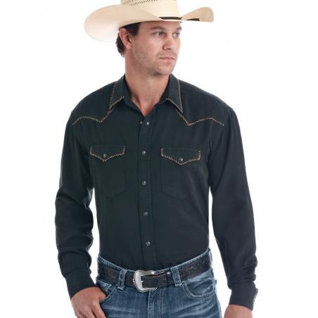 Western Shirt - Tencel Black Solid Men - Panhandle