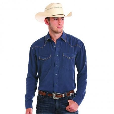 Western Shirt - Tencel Navy Solid Men - Panhandle