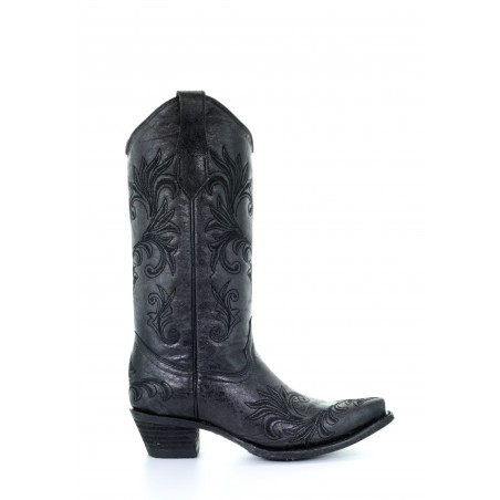 Cowgirl Boots - Cowhide Dark Grey Embroidery Snip Toe Women - Corral Boots