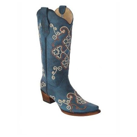 Cowgirl Boots - Cowhide Blue Beige Embroidery Women - Corral Boots