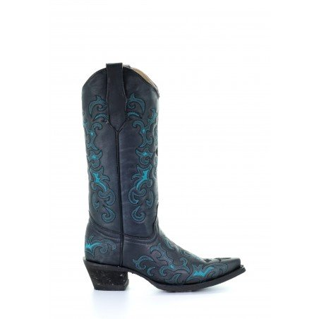 Cowgirl Boots - Cowhide Black Turquoise Embroidery Women - Corral Boots