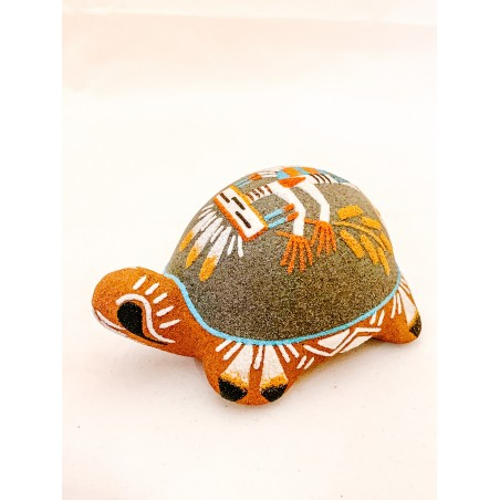 Pottery - Navajo Sand Painted Turtle - Native American Art