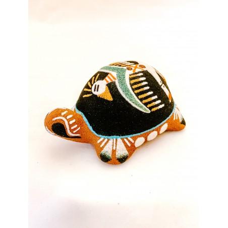 Pottery - Navajo Sand Painted Black Turtle - Native American Art