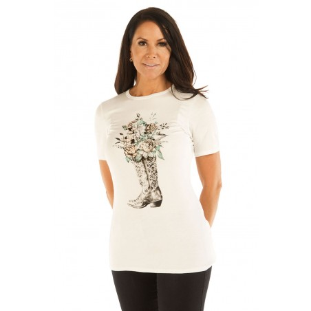 T-shirt - Ivory Boot Full of Roses Women - Liberty Wear