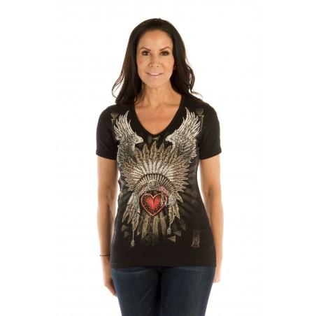 T-shirt - Black Heart Headdress Women - Liberty Wear