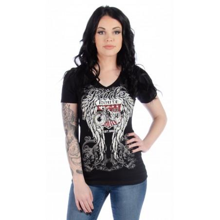 T-shirt - Black Ride Route 66 Women - Liberty Wear