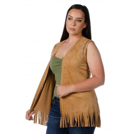 Fringe Vest - Brown Rhinestone Women - Liberty Wear