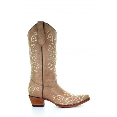 Cowgirl Boots - Cowhide Beige Fleur de Lys Embroidery Women - Corral Boots