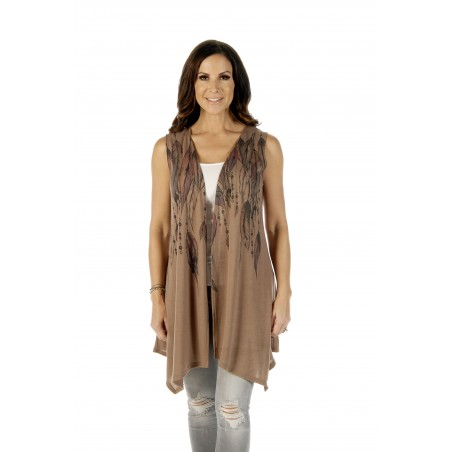 Cardigan - Brown Feathers & Beads Women - Liberty Wear