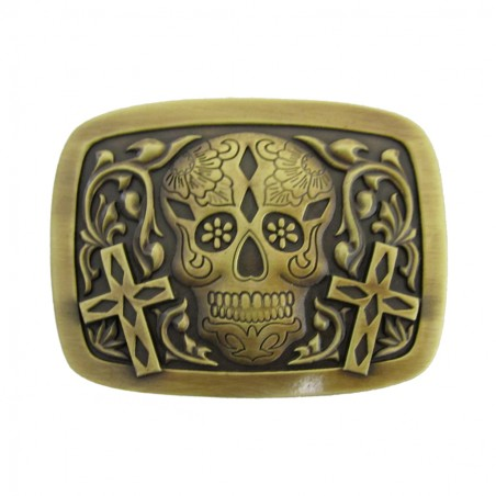 Western Buckle - Antique Brass Day of Dead Unisex - AndWest