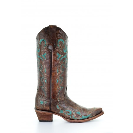 Cowgirl Boots - Cowhide Brown Turquoise Embroidery Women - Corral Boots