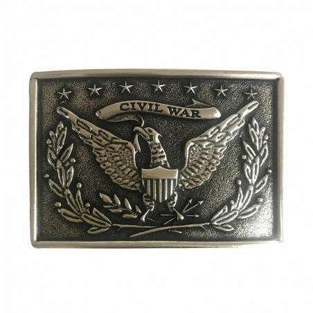 Western Buckle - Antique Silver Civil War Unisex - AndWest