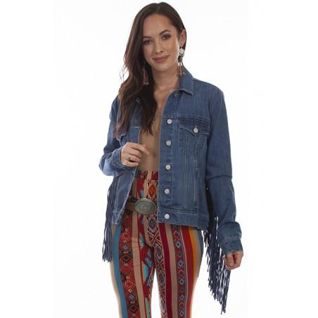 copy of Denim Jacket - Cotton Blue Fringe Colored Women - Scully
