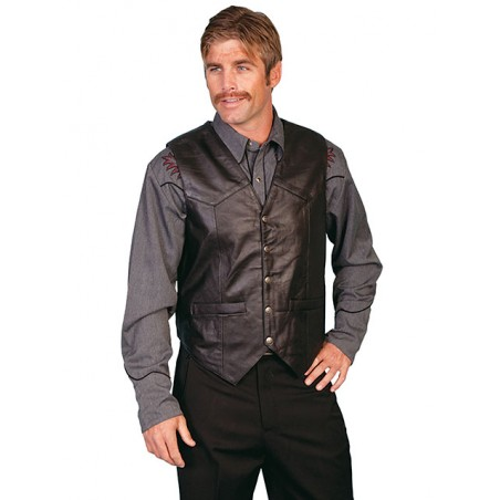 Vest Big Size - Black Leather Men - Scully