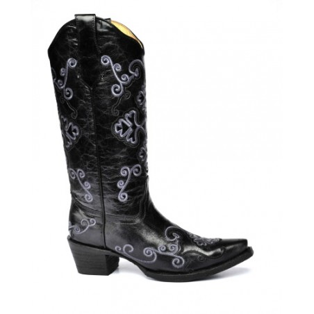 Cowgirl Boots - Cowhide Black Grey Embroidery Women - Corral Boots