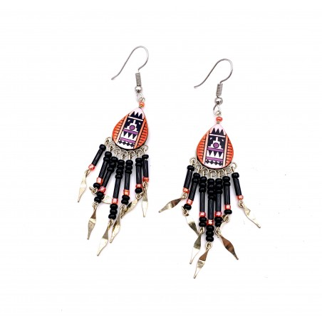 Earrings - Orange Southwest Mandala - El Paso
