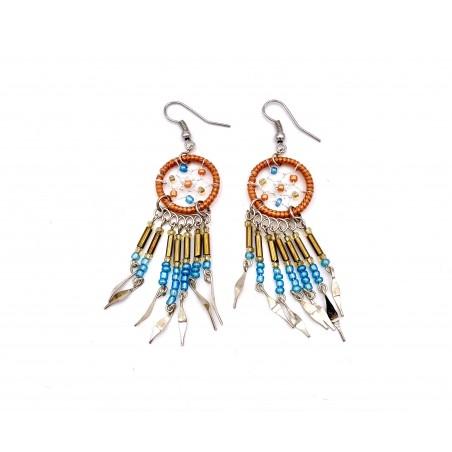 Earrings - Orange Dream Catcher - El Paso