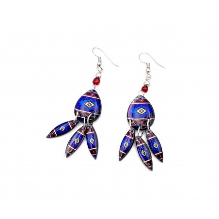 Boucles d'oreilles - Aztèque Mandala Bleu Foncé - El Paso