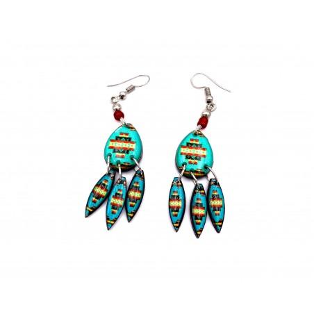 Boucles d'oreilles - Aztèque Mandala Turquoise - El Paso