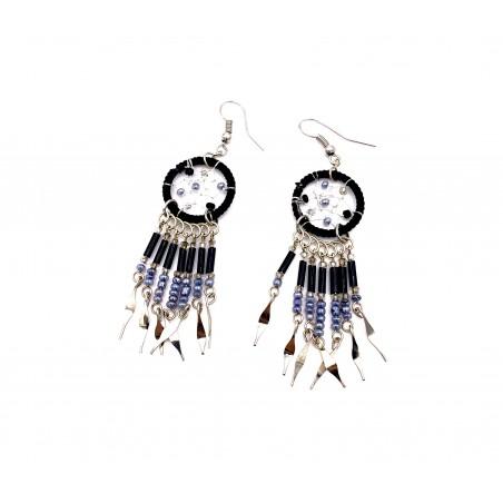 Earrings - Black Dream Catcher - El Paso