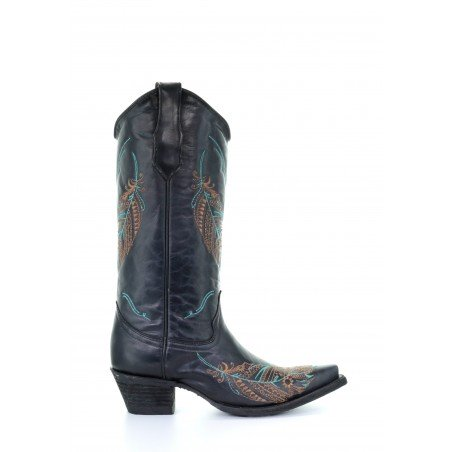 Cowgirl Boots - Cowhide Black Feathers Embroidery Women - Corral Boots