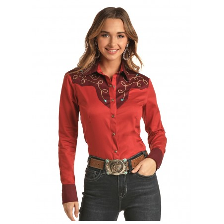 Vintage Western Shirt - Burgundy Rodeo Embroidery Women - Panhandle