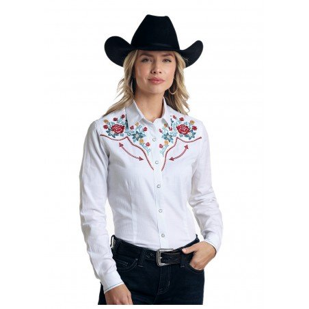 Western Shirt - White Floral Embroidery Women - Panhandle