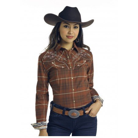 Western Shirt - Brown Plaid Floral Embroidery Women - Panhandle