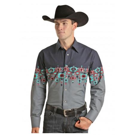 Western Shirt - Grey Aztec Border Men - Panhandle