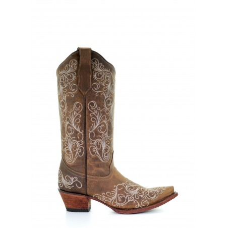 Cowgirl Boots - Cowhide Beige White Embroidery Women - Corral Boots