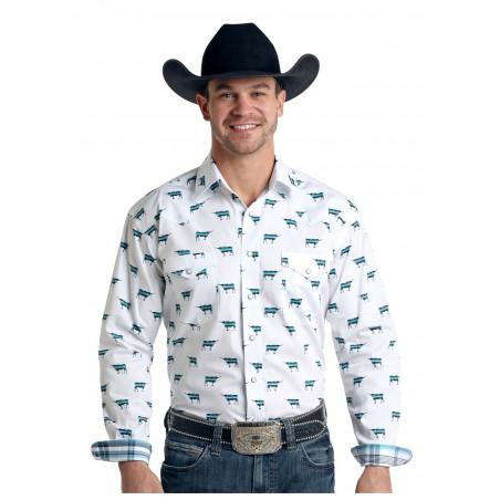 Western Shirt - White Longhorn Print Men - Panhandle