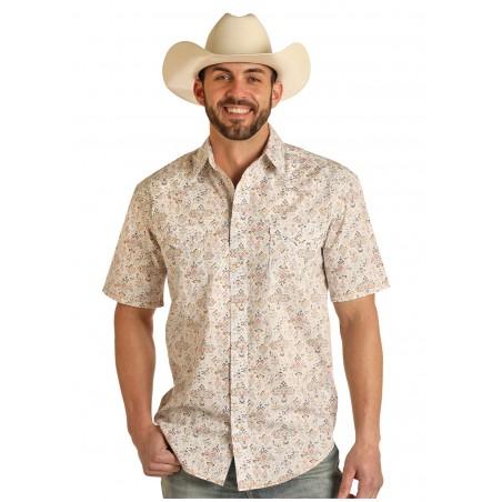 Western Short Sleeve Shirt - Beige Aztec Print Men - Panhandle