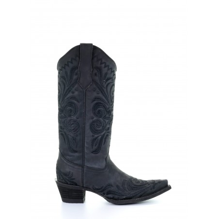 Cowgirl Boots - Cowhide Black Embroidery Women - Corral Boots