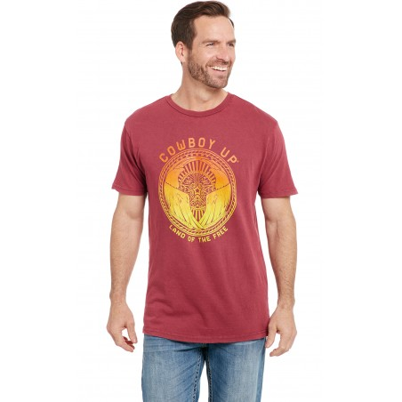 T-shirt - Vintage Red Land Of The Free Men - Cowboy Up