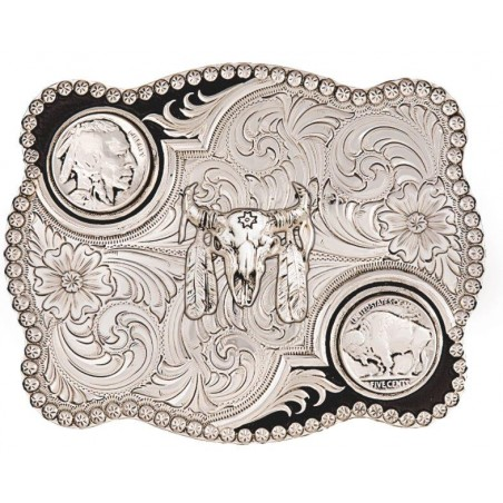 Western Buckle - Antiqued Indian Buffalo - Montana Silversmiths