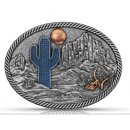 Western Buckle - Oval Cactus Scene - Montana Silversmiths