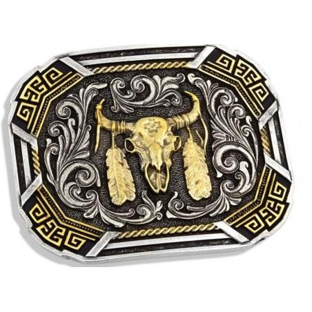 Western Buckle - Southwestern Flair Buffalo Skull - Montana Silversmiths