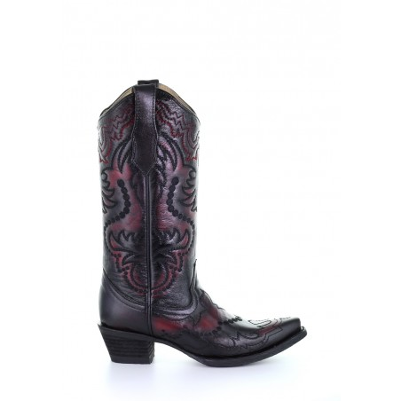 Cowgirl Boots - Cowhide Black Cherry Embroidery Women - Corral Boots