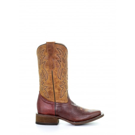 Teens Roper Boots - Cowhide Brown Square Toe Unisex - Corral Boots