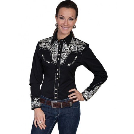 Vintage Western Shirt - Black Floral Embroidery Women - Scully