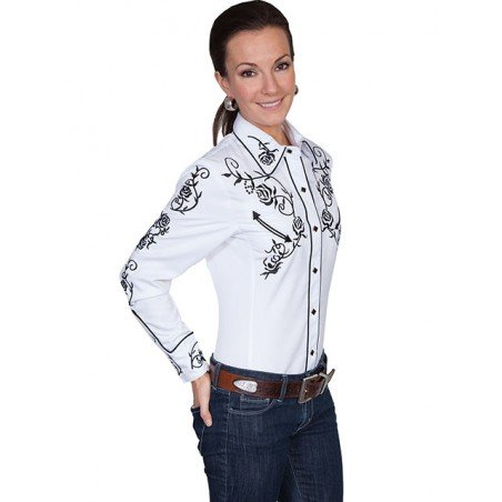 Vintage Western Shirt - White Rose Vine Embroidery Women - Scully