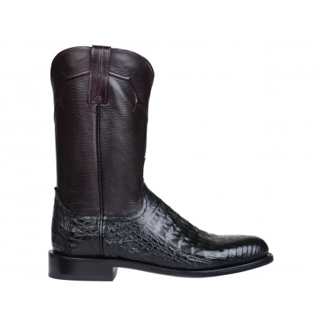 Roper Boots - Genuine Caiman Leather Black Round Toe Men - Lucchese Boots